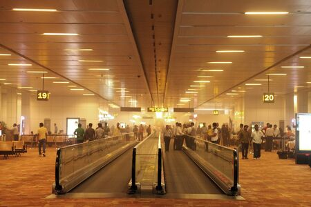 new delhi: NEW DELHI INDIAMAY 30: Suspended dust all over the departure lounge of New Delhi International Airport during duststorm on May 30 2014 New Delhi Indi Editorial