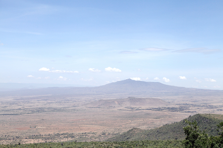 rift: Beautiful hillocks and Mt Longonot volcano in the great rift valley of Kenya Stock Photo