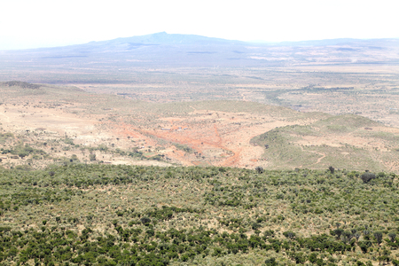 rift: Beautiful landscape with Mt Suswa volcano in the great rift valley of Kenya Stock Photo