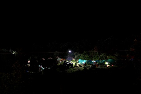 camping site: Beautiful view of lighted Camping site at Pangot Village during night Stock Photo