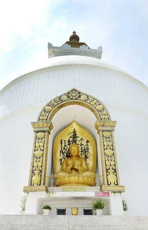 shanti: sculpture on Shanti stupa