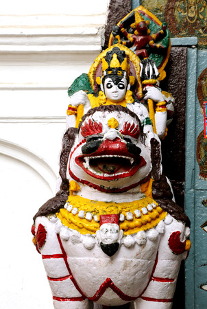 closed society: A lion guarding the main coutyard of Hanuman dhoka durbar