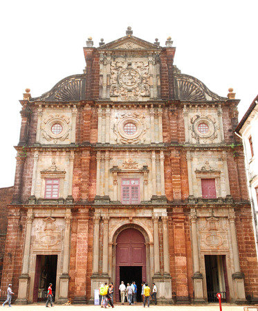 mortal: GOA, INDIA- AUGUST 11: The facade of ancient Basilica of Bom Jesus church on August 11, 2014, Goa. The basilica church holds the mortal remains of St. Francis Xavier.
