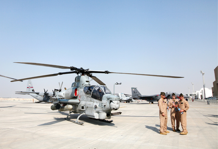 usaf: SAKHIR AIRBASE, BAHRAIN - JANUARY 16: Static display of USAF Bell AH-1 Cobra in Bahrain International Airshow at Sakhir Airbase, Bahrain on 16 January, 2014 Editorial