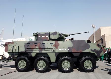 arma: SAKHIR AIRBASE, BAHRAIN - JANUARY 16: Static display of Otokar Arma 8x48 in Bahrain International Airshow at Sakhir Airbase, Bahrain on 16 January, 2014 Editorial