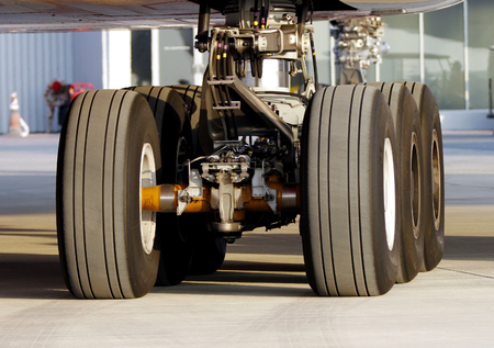 static: SAKHIR AIRBASE, BAHRAIN - JANUARY 16: Wheel assembly of a static displayed Emirates A380 aircraft in Bahrain International Airshow at Sakhir Airbase, Bahrain on 16 January, 2014 Editorial