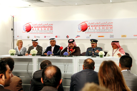 newsman: SAKHIR AIRBASE, BAHRAIN - JANUARY 18: H.H. Shaikh Abdulla Bin Hamad Al Khalifa, addressing media in Bahrain International Airshow at Sakhir Airbase, Bahrain on 18 January, 2014