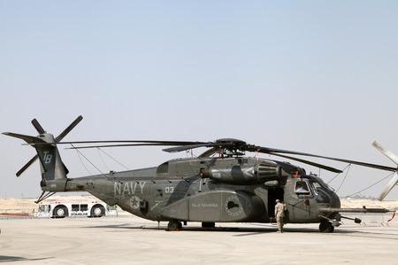 usaf: SAKHIR AIRBASE, BAHRAIN - JANUARY 16: Static display of USAF Sikorsky MH-53 in Bahrain International Airshow at Sakhir Airbase, Bahrain on 16 January, 2014
