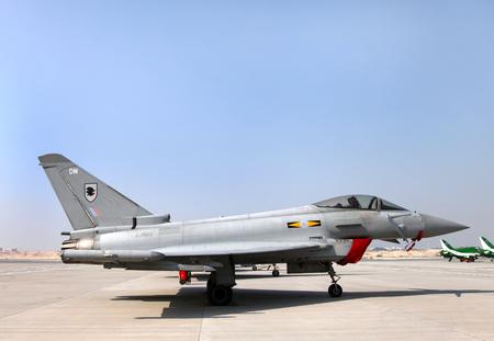 modern fighter: SAKHIR AIRBASE, BAHRAIN - JANUARY 16: Static display of RAF Eurofighter Typhoon in Bahrain International Airshow at Sakhir Airbase, Bahrain on 16 January, 2014