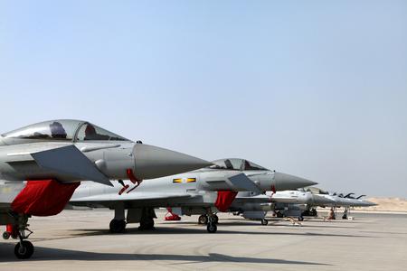modern fighter: SAKHIR AIRBASE, BAHRAIN - JANUARY 16: Static display of Typhoon, F16  Mirage 2000 in Bahrain International Airshow at Sakhir Airbase, Bahrain on 16 January, 2014