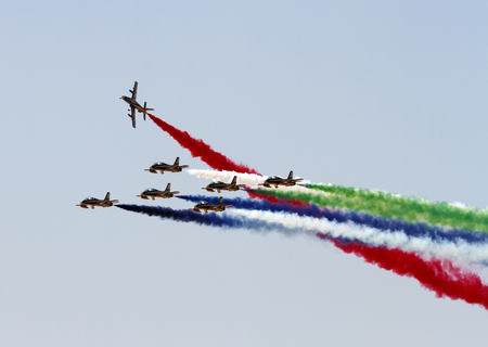 Preview Save to a lightbox  Find Similar Images  Share Stock Photo: SAKHIR AIRBASE, BAHRAIN - JANUARY 16: Flying display and aerobatic show of Al Fursan in Bahrain International Airshow at Sakhir Airbase, Bahrain on 16 January, 2014