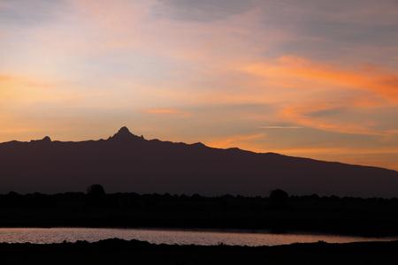 nature conservancy: Beautiful peak of Mount Kenya at sunrise Stock Photo