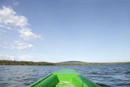 lake naivasha: A boat moving on Lake Naivasha