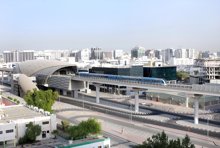 conditioned: DUBAI, UAE - SEPTEMBER 03: Fully automated train and metro rail network in Dubai, United Arab Emirates on September 03, 2011. The Dubai Metro is the longest driverless metro network in the world