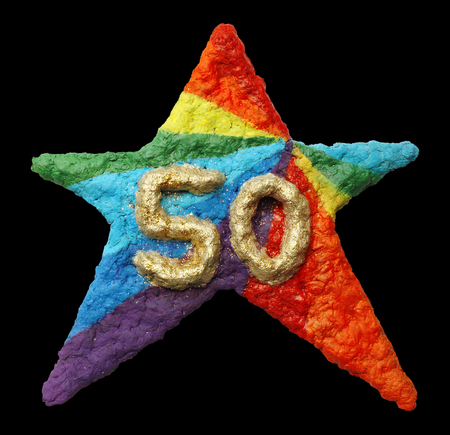 3d star: A beautiful 3D star shaped Birthday gift paper pulp, a child art Stock Photo