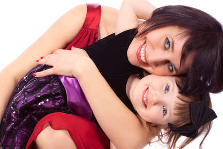 Mother woman girl daughter embrace love family Stock Photo