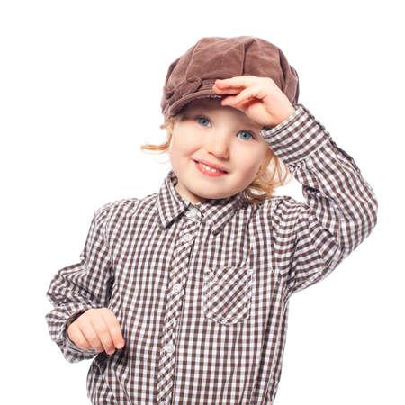 funny girl standing half-length cap isolated white Stock Photo - 12778990