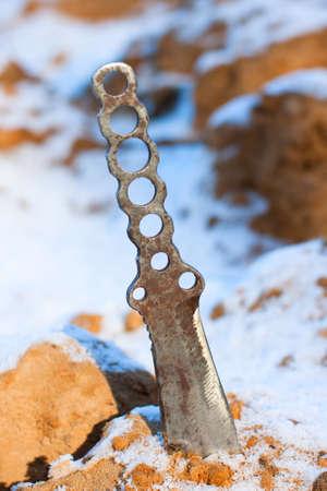 Knife hiking on tree sharp blade criminal Stock Photo - 12949218