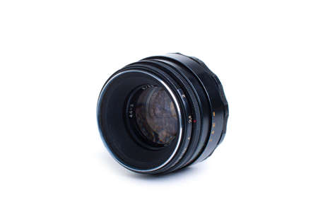 old soviet classic lens isolated on white photo
