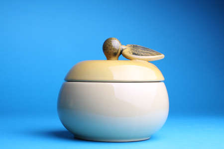 cup sugar-bowl in the form of an apple isolated on blue background Stock Photo - 13404770