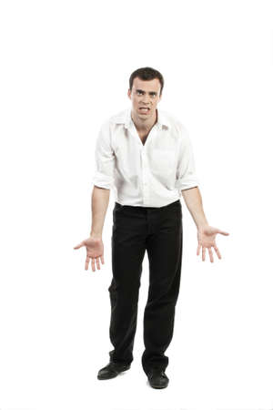 devastated: Unhappy young businessman gesturing isolated on white