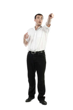 Young business man makes exchange deal over white background photo
