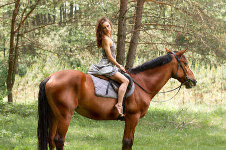 horse riding: beautiful young girl on horse in dress in forest