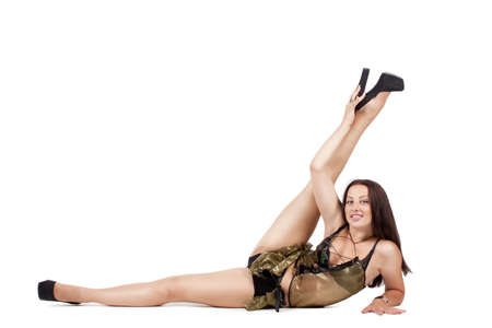 go-go dancer in an extravagant pose isolated on white background Stock Photo - 16116916