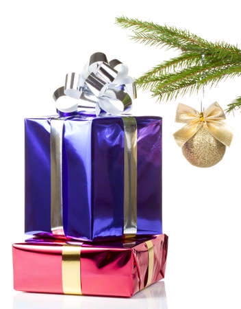 Two colored beautiful boxes with christmas gifts photo