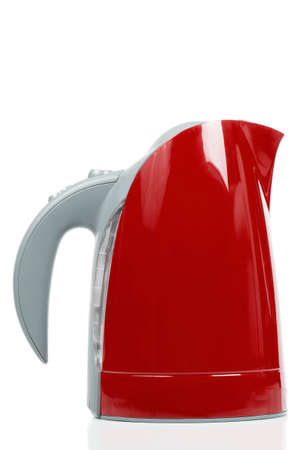 electric tea kettle: Red electric tea kettle isolated on white background