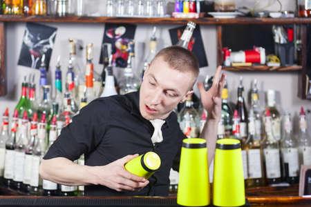 barmen: Professional barmen making cocktail in night club