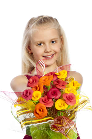 Beautiful girl with bouquet of edible flowers photo