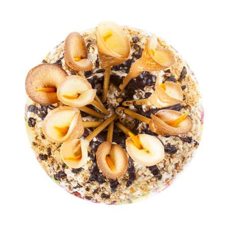 calas blancas: Torta dulce con calas aisladas decorativa sobre fondo blanco Foto de archivo