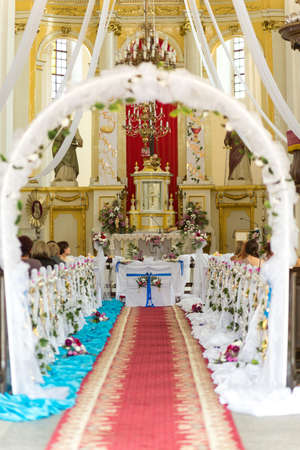 christian altar: Church is ready for the wedding ceremony. Belarus