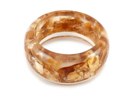 monolithic: Baltic monolithic amber bracelet isolated on white