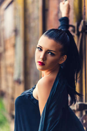 nu: Close-up portrait of beautiful brunette with creative make up