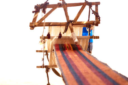 bedouin: Traditional loom and homespun fabric in a Bedouin village, Egypt