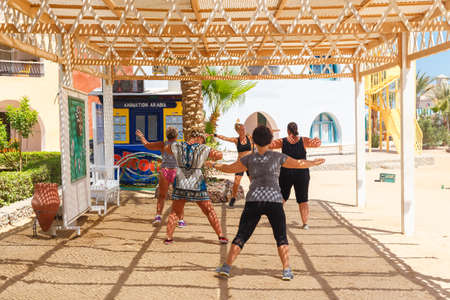 HURGHADA EGYPT MAY 20 2015: fitness klass on the beach in Arabia Azur Resort where every year at the start of the summer the Azur is one of the favourite place for seniors