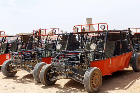 hurghada: HURGHADA, EGYPT - MAY 18, 2015: Parking of buggy for tourists in Quad Runner Safari Editorial