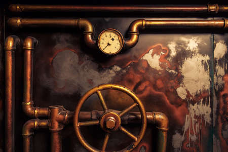 steam traction: background vintage steampunk from steam pipes and pressure gauge
