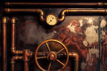 maquinaria: fondo del steampunk del vintage de las tuberías de vapor y manómetro