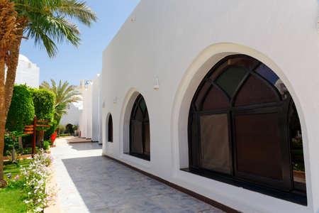 hurghada: HURGHADA, EGYPT - MAY 17, 2015: White arab house. Traditional architecture of Hurghada in Egypt Editorial
