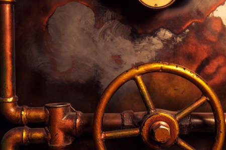 maquina de vapor: fondo del steampunk del vintage de las tuberías de vapor y manómetro