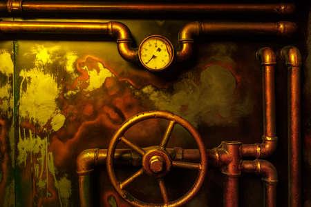 sfondo Steampunk annata da tubi di vapore e manometro