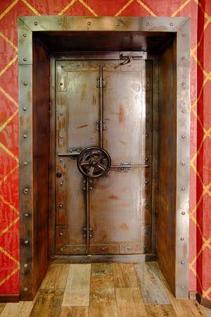 silver ingots: Metal door in the Bank vault or casino