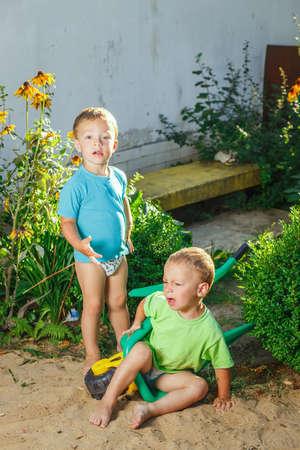 brothers playing: hermanos gemelos que juegan usando un carritos de jard�n Foto de archivo