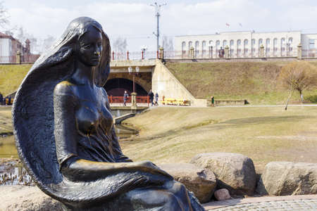 mart: GRODNO, BELARUS - MART 27: Statue of a girl-the wave in the Park named Gilibert, Mart 27, 2016 in Grodno, Belarus