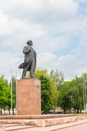 lenin: HRODNA, BELARUS - MAY 21, 2016: Lenin monument in front of the Executive Committee, Grodno, Belarus