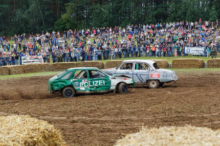 destroying the competition: GRODNO, BELARUS - AUG 13: Car fighting for survival on August 13, 2016 in Grodno, Belarus