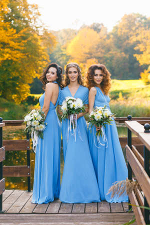 Bridesmaids in park on the wedding day Banco de Imagens